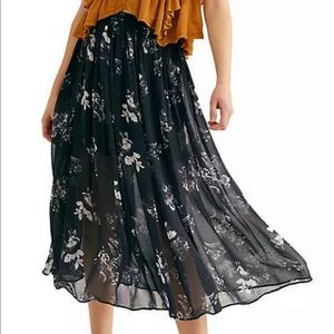 Free People | Lydia Floral Print Midi Skirt